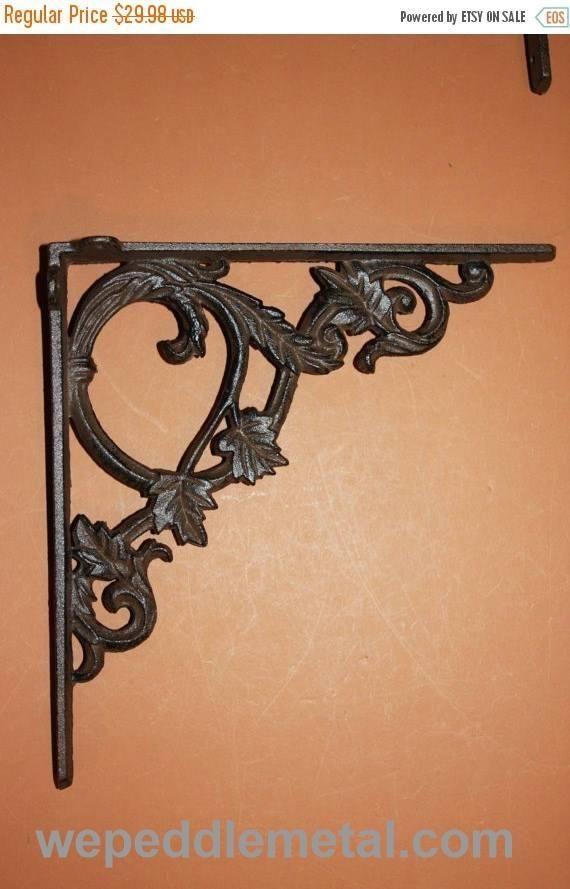"1) elegant shelf brackets, vintage-look cast iron shelf brackets, 9 3/8"" shelf brackets, elegant corbels,B-37"