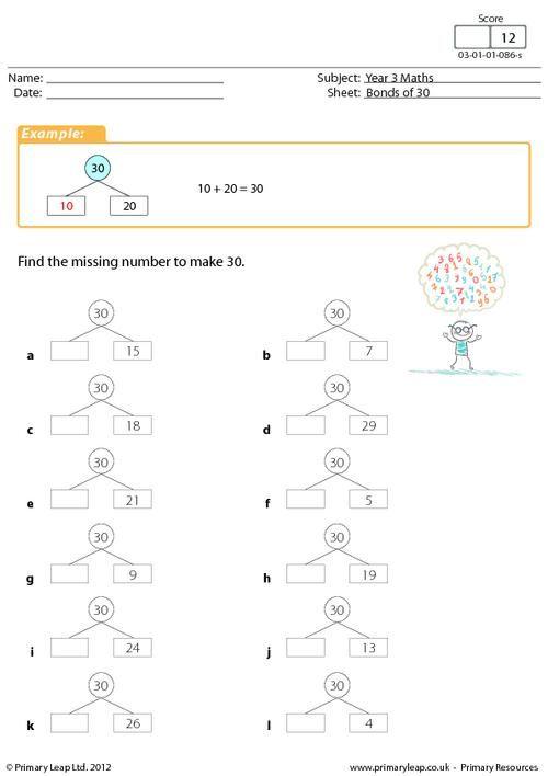 bonds of 30 worksheet maths printable worksheets primaryleap pinterest. Black Bedroom Furniture Sets. Home Design Ideas