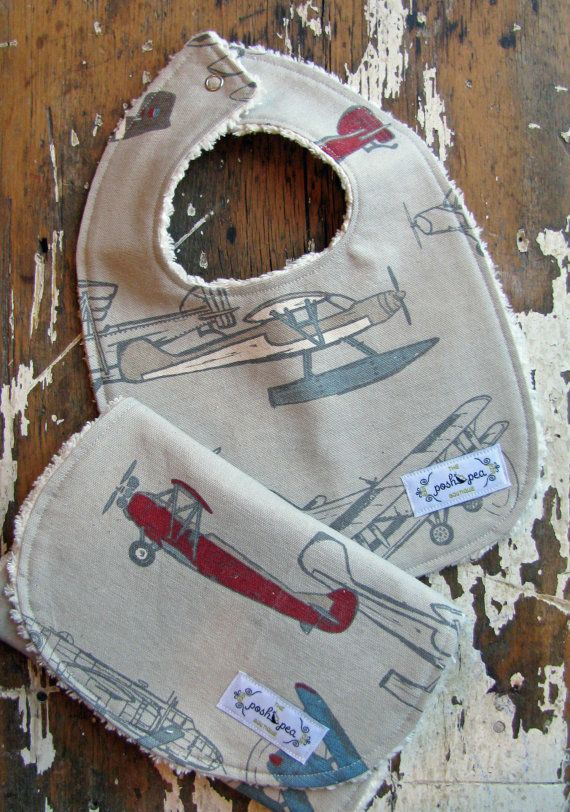 Bib & Burp Cloth Gift Set  Vintage Airplanes by theposhpeaboutique, $19.00