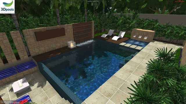 Modern family pool with water wall, spa with water feature & floating steppers to sun deck, sunken fire pit area. Buy this pool design and many more stylish designs at www.3d-pools.com.au