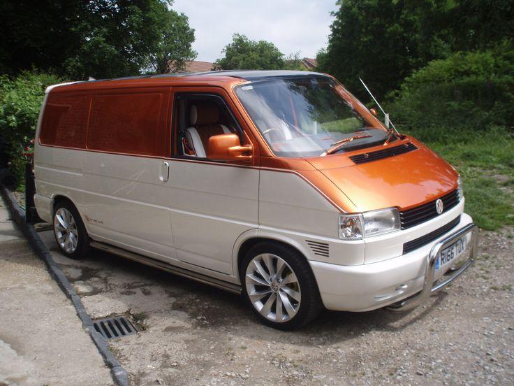 VW T4 Transurfer Van, custom paint job. House of Kolor, Snow White Pearl & Cinnamon Orange Pearl. Painted by James Pratt, J P Autos, Stockport.