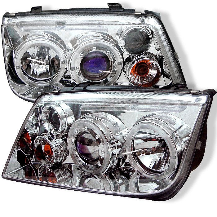 ( Spyder ) Volkswagen Jetta 99-05 Projector Headlights (does not fit the Jetta 2.5) - LED Halo - Chrome - High H1 (Included) - Low H1 (Included)