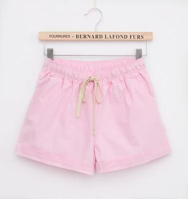 Summer Casual Solid Cotton Shorts Preppy Candy Colors High Waist Loose Beach Shorts Streetwear Pants Pink One Size