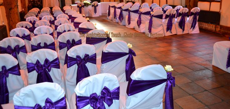 Cadburys Purple satin Bows with Ivory Roses on White Chair Covers.  The Sophisticated Touch ...Chair Covers by Design