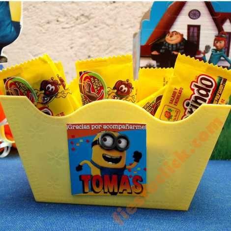 Minions botanero, dulcero o recipiente  para la mesa de dulces de la fiesta