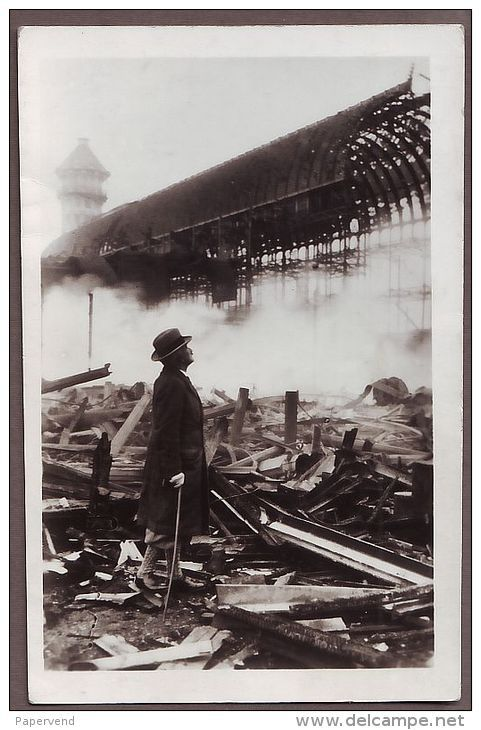 London CRYSTAL PALACE destroyed by Fire 1936 surveying the damage