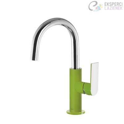 Bateria umywalkowa jednouchwytowa zielony-chrom Loft Colors Tres 20020504VED