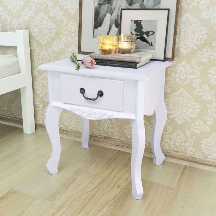 Home Bedside Cabinet Table Bedroom Nightstand Wood Furniture White Style Drawer #HomeBedsideCabinet