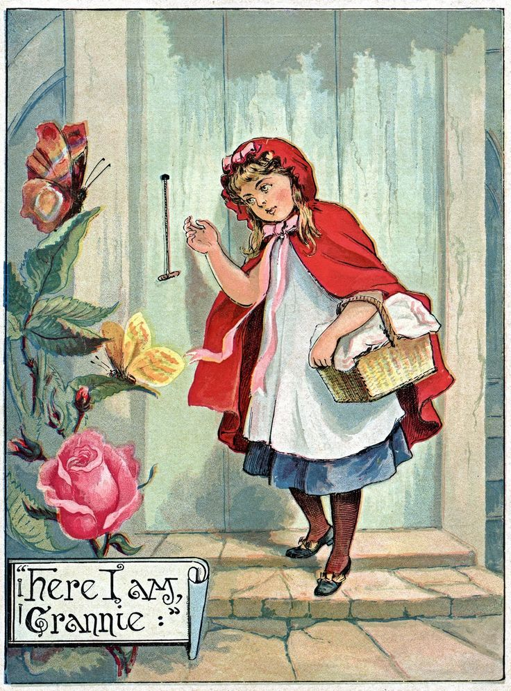 Sweet Little Red Riding Hood Vintage Print -Courtesy of The Graphics Fairy