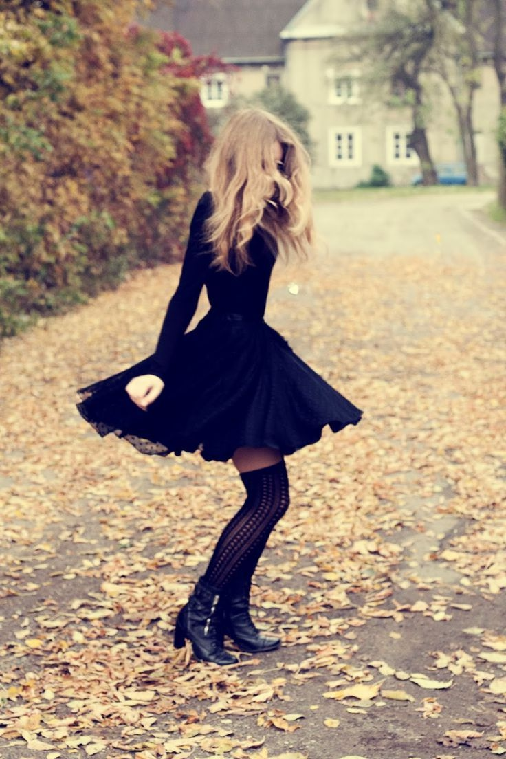 Skater dress, tights, knee-highs, boots, curled hair, fall, leaves, I'd wear this for a halloween costume xD