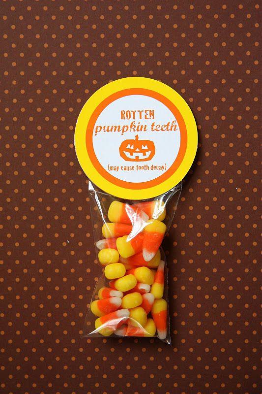"Rotten Pumpkin Teeth snack for preschool or kindergarten. May just call them ""pumpkin teeth"" and drop the rotten part"