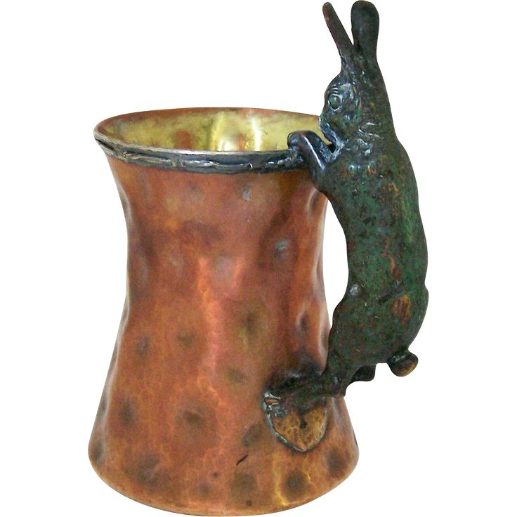 Joseph Heinrichs Arts and Crafts Hammered Copper and Silver Tankard from riverqueen on Ruby Lane