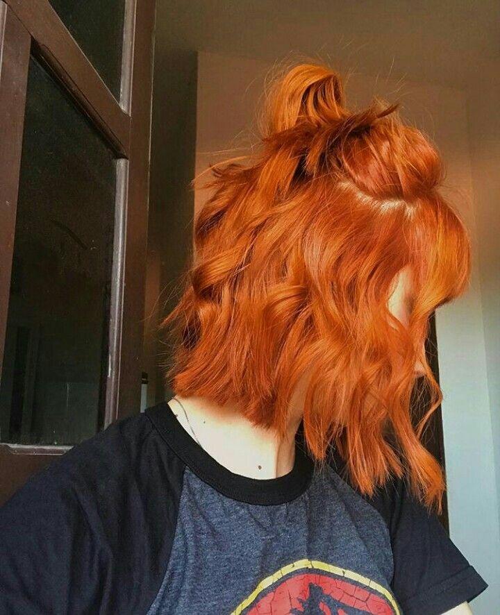short hair   long bob   lob   haircolor   haircut   ginger   orange hair   coppe…