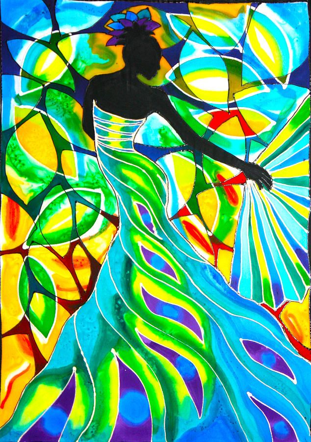 Blue Fan Dancer Painting by Lee Vanderwalker