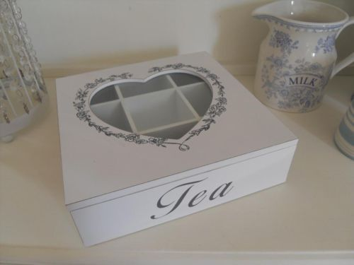 WHITE WOODEN TEA STORAGE BOX WITH A HEART LID AND FLORAL PATTERN CHIC N SHABBY