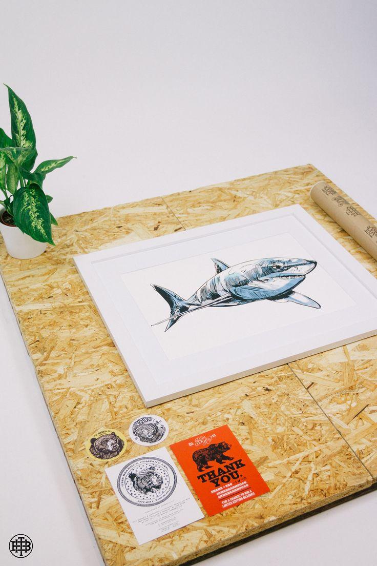 The Sharkie Print - Get 30% off all prints - Ending soon.  #thebeahugco #thebearhug #lukedixon #sharkieprint