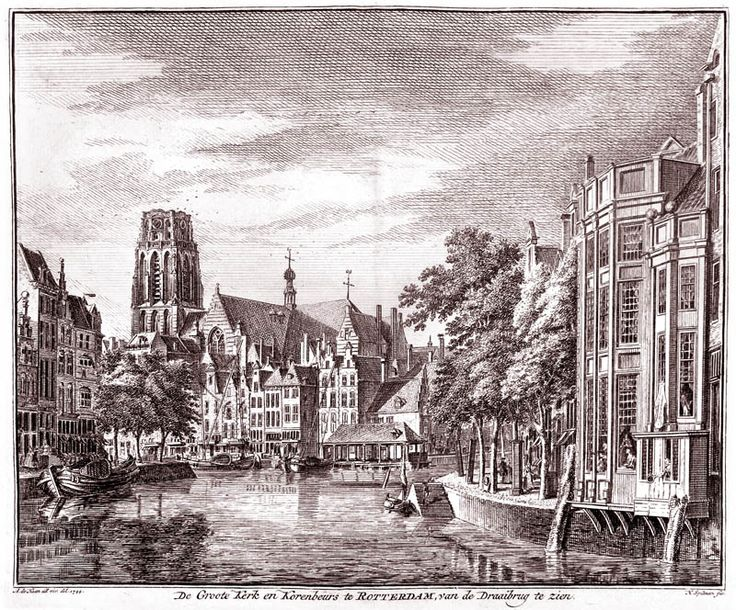 Groote Kerk en Korenbeurs in Rotterdam in 1773 door H. Spilman uitgegeven