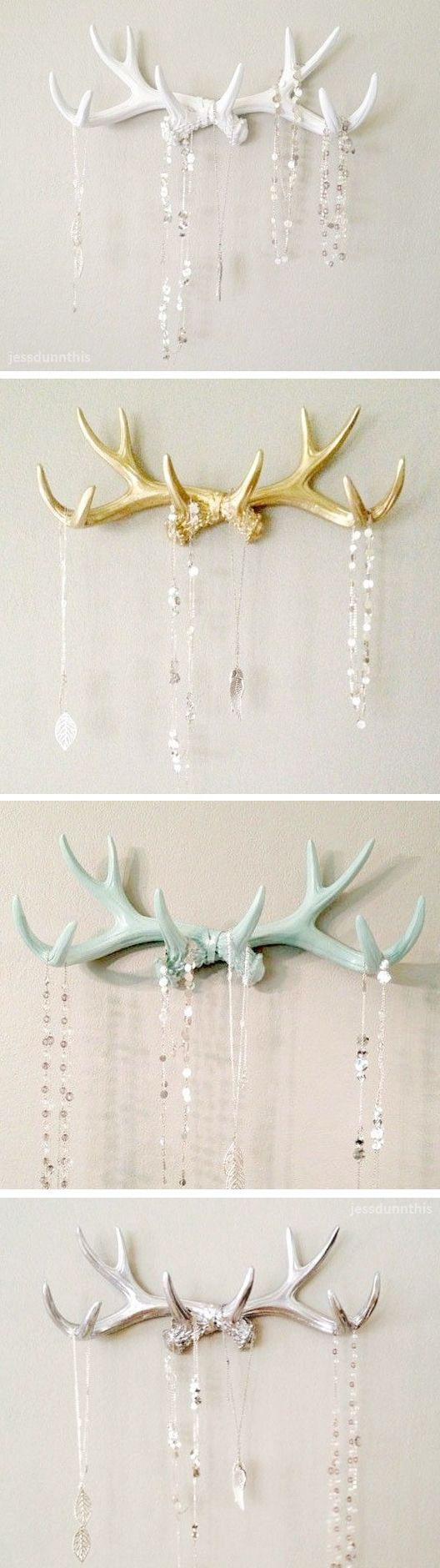 Antler jewelry hanger wall hooks | white, gold, mint, silver #product_design