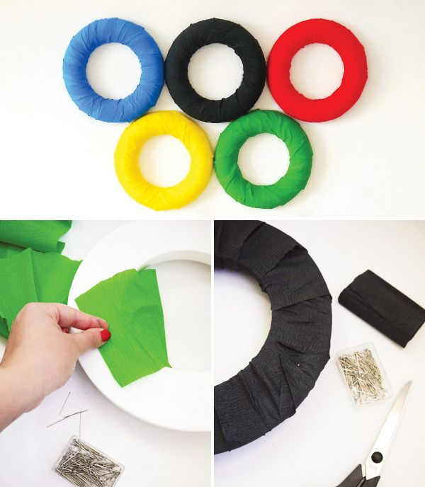 Make simple Olympic rings for your wall with crepe paper