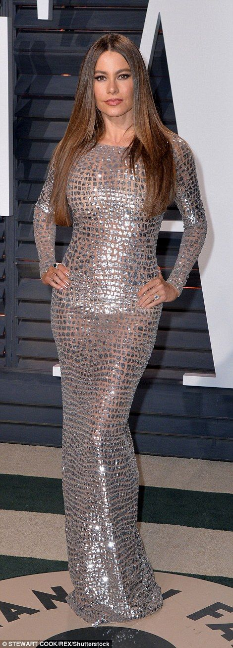 Eye-popping! The 44-year-old Colombian beauty slipped into a see-through silver gown which...