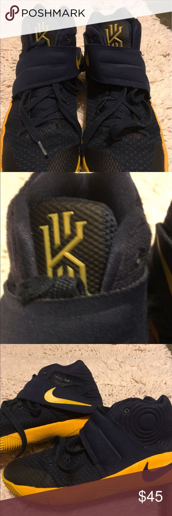 Nike Kyrie Irving Boys Tennis Shoes Size 7 Youth Nike Kyrie Irving Boys Tennis Shoes Size 7 Youth Yellow and Navy Blue/Black Dark Tent Color on Shoe Yellow Bottom Grid Laces and Velcro Closure Great Condition Size 7 Youth and so much more wear. Sturdy made for our active boys!! Nike Kyrie Irving Shoes Sneakers