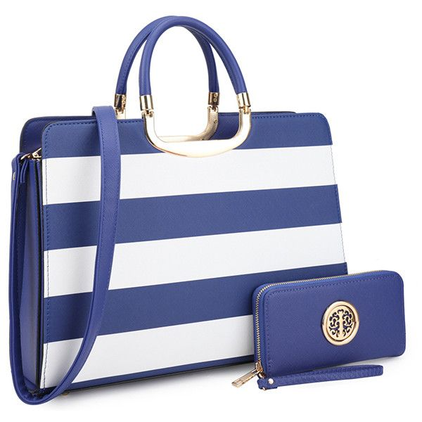 Women's MMK Collection Tote BagStriped-Blue and White (2.245 RUB) ❤ liked on Polyvore featuring bags, handbags, tote bags, blue, tote purses, handbags totes, blue purse, blue and white handbag and tote handbags
