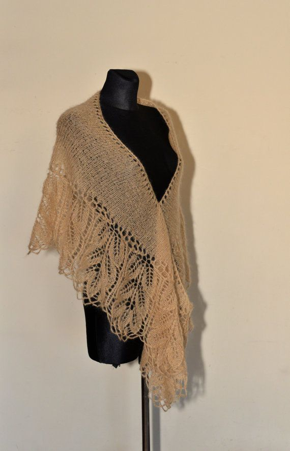 HANDMADE. READY TO SHIP  Golden Hand Knit Lace Shawl - this beautiful large shawl is made of soft yarn (blend of mohair, acrylic and wool) in beautiful color. Shawl is very soft and warm. It will be great addition to your wardrobe. Shawl is a crescent-shaped.  Its lace - weight approx 100 g.  Color: golden beige.  Because of different monitors and screen resolutions, color may look different on the screen than in reality.  Measurement: length: 164 cm [64.6] at the top of the shawl and 264 cm…