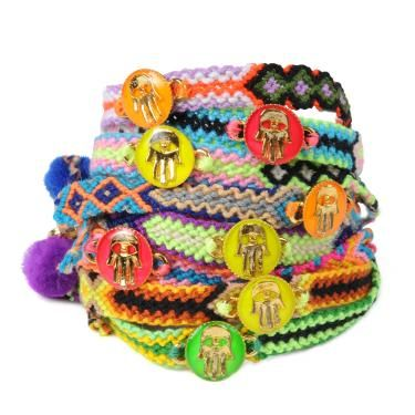 Limited Edition Neon Enamel Hamsa Hand Token Friendship Bracelet   Dana Levy
