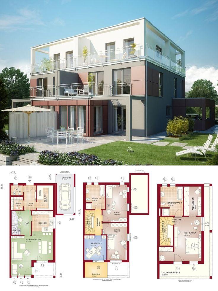 Doppelhaus modern mit Flachdach Architektur, Wintergarten