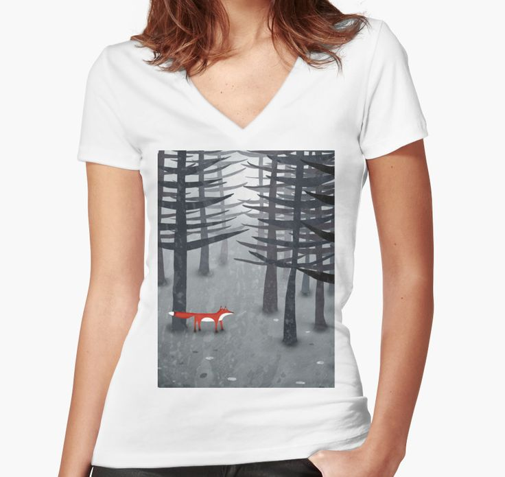 T shirt femme moulant col V sur Redbuuble taille S The Fox and the Forest par Nic Squirrell