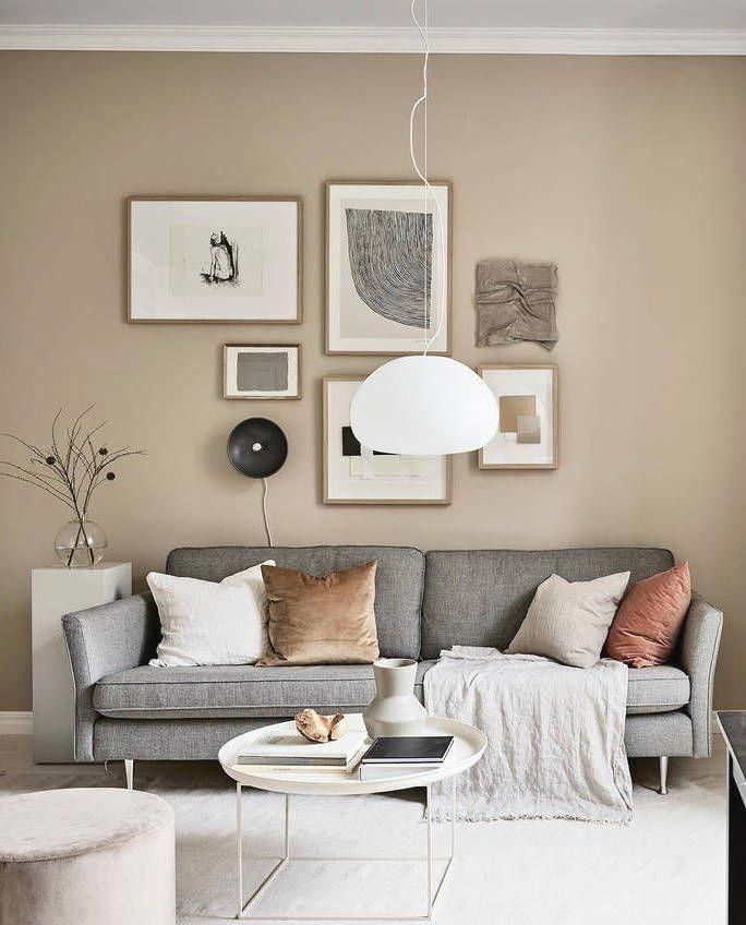 Small Studio With Beige Walls Coco Lapine Design Living Room Wall Color Beige Living Rooms Brown Living Room Beige color in living room