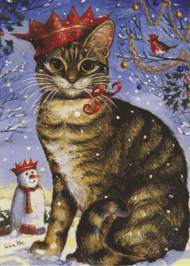 Unusual Tabby Cat With Snowman & Robin Xmas Card From