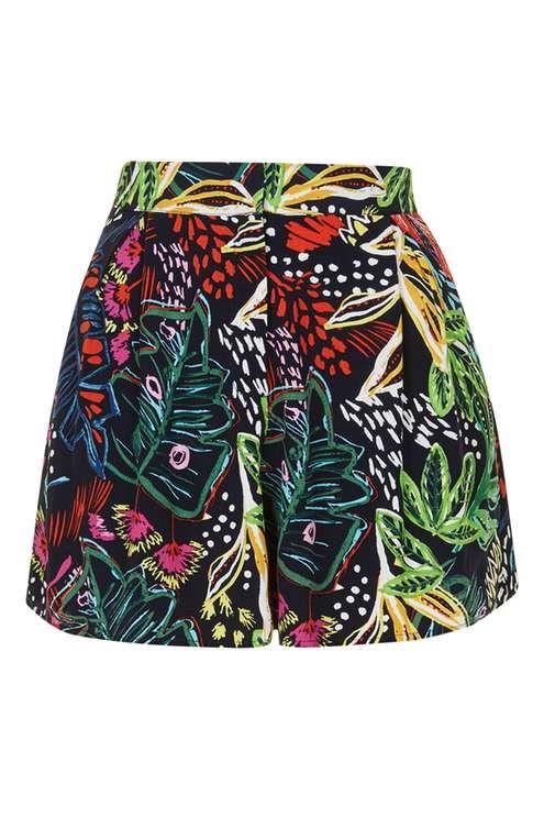 Shorts mit Blumenmuster im Matisse-Stil