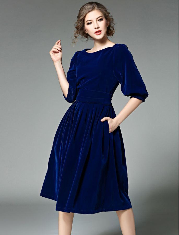 Simply Stunning Vintage Style Retro  Inspired Velvet Midi Dress