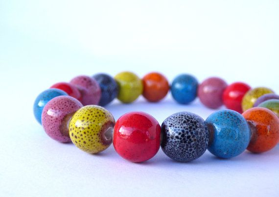 Multicolor ceramic bead bracelet, vintage clay bracelet, speckled beads, blue, red, yellow, purple, orange beads, gorgeous vintage beads