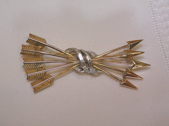 Crown Trifari Gold Arrows Bound By Double Wrapped