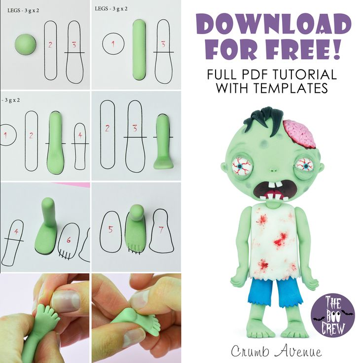 Cute Zombie Cake Topper - FREE PDF tutorial with TEMPLATES :)