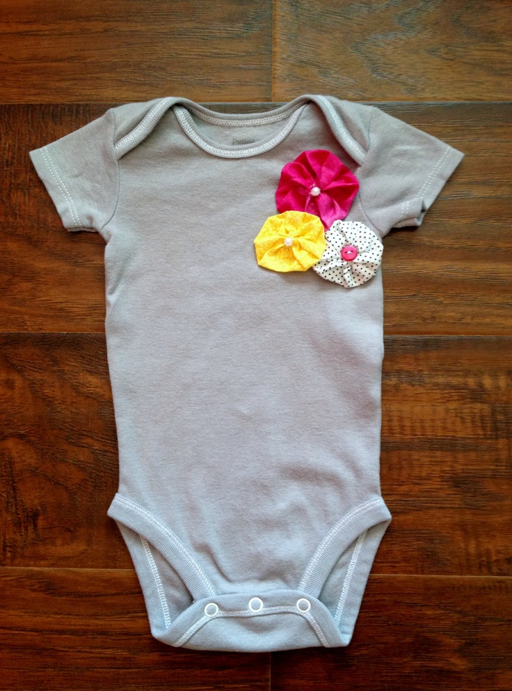 Unique Baby Girl Onesie in Gray With Beautiful Handmade ...