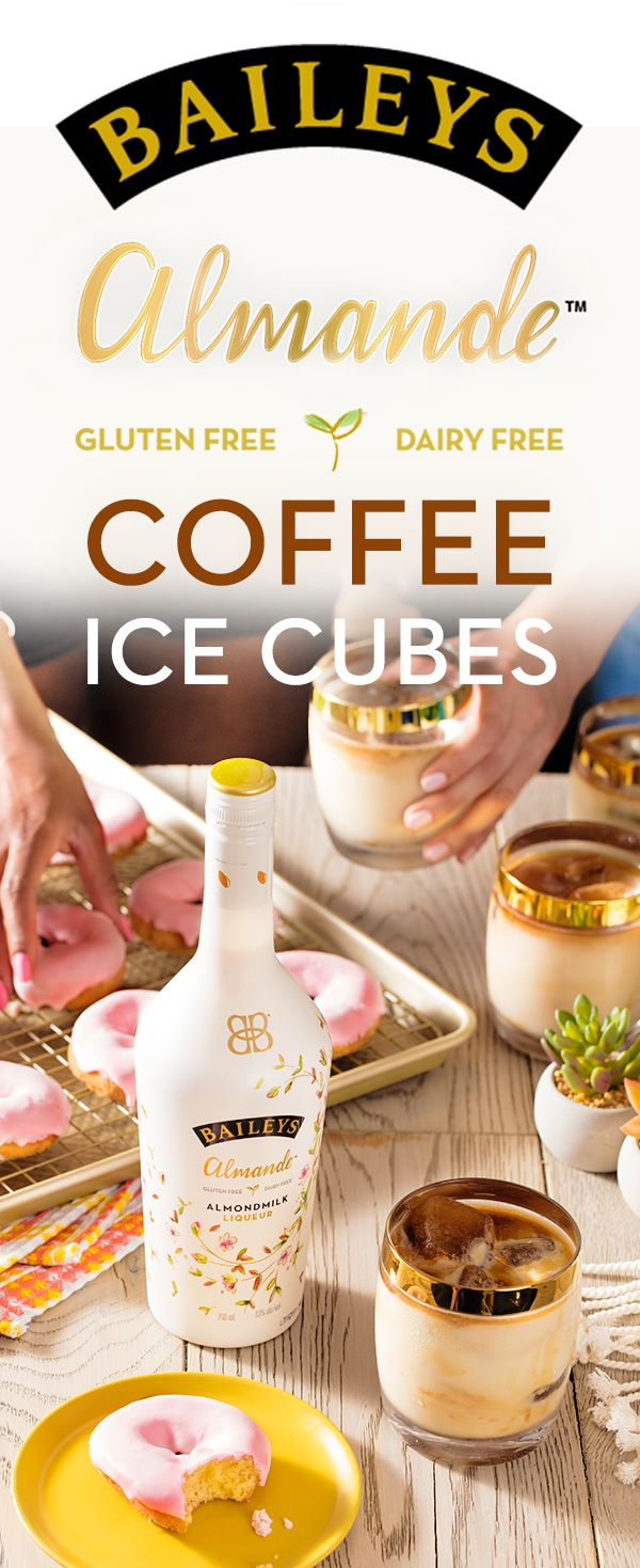 """Nothing says brunch like a bunch of deliciously dairy and gluten free cocktails! Turn your summer hosting skills up a few notches with vegan donuts and our refreshing-tasting almondmilk liqueur. Served over coffee ice cubes, we're giving """"Baileys Almande on the Rocks"""" a whole new meaning."""