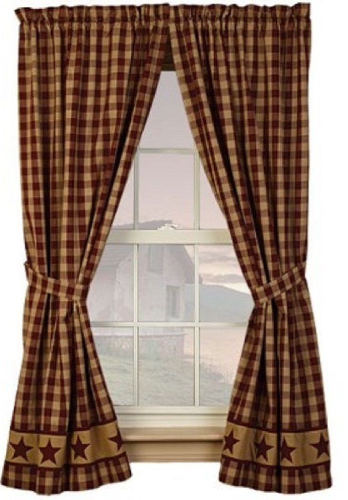 Primitive Cranberry Country Star Curtain Panels In 2019