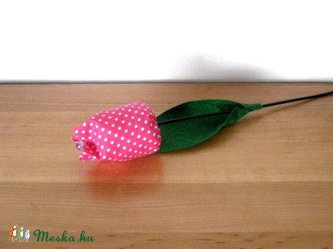 Meska - Tulipán szálak textilből - pink eszterszemek kézművestől