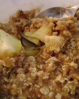5 Minute Apple Crisp.  Best apple crisp EVER. So fast and SO crazy good!