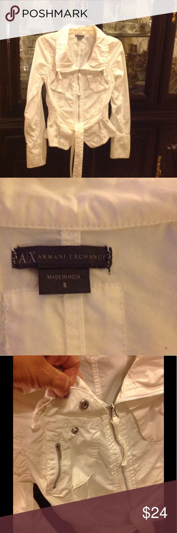 A|X ARMANI EXCHANGE Jacket A|X ARMANI EXCHANGE Beautiful Jacket with so many beautiful details. It has two pockets with snap boutons and zippers, and two front invisible pockets in the front. It has elastic waist in the back and belt in the front. The sleeves has details too the cuff can be folded. Used once, in excellent condition. A|X ARMANI EXCHANGE Jackets & Coats Utility Jackets