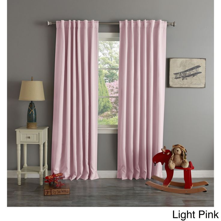 Aurora Home Thermal Rod Pocket 96 Inch Blackout Curtain Panel Pair (Light  Pink)