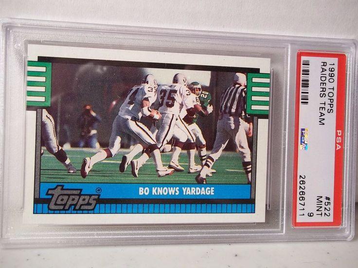 1990 Topps Raiders Team PSA Mint 9 Football Card #522 NFL Bo Knows Yardage #OaklandRaiders