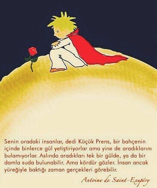 ...insan ancak yüreğiyle baktığı zaman gerçekleri görebilir. Küçük prens