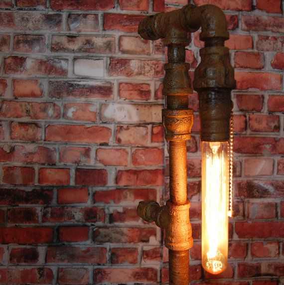 Industrial Metal Pipe Lamp with Edison Bulb by shopmagicpowers