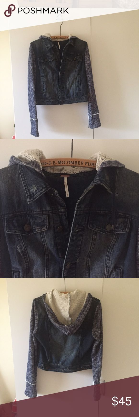 Free People Hooded Jeans Jacket Size Small New without the tags! Free People Jackets & Coats Jean Jackets