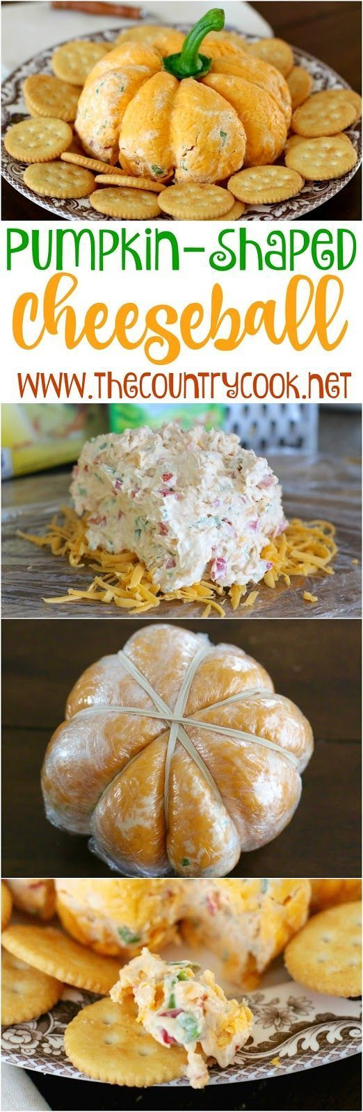 Pumpkin {Shaped} Cheese Ball recipe from The Country Cook. I took this to a get-together and everyone went nuts for it! They absolutely loved the way it looked and the way it tasted! Folks were taking pictures - ha! It's ranch and veggie flavored and so g