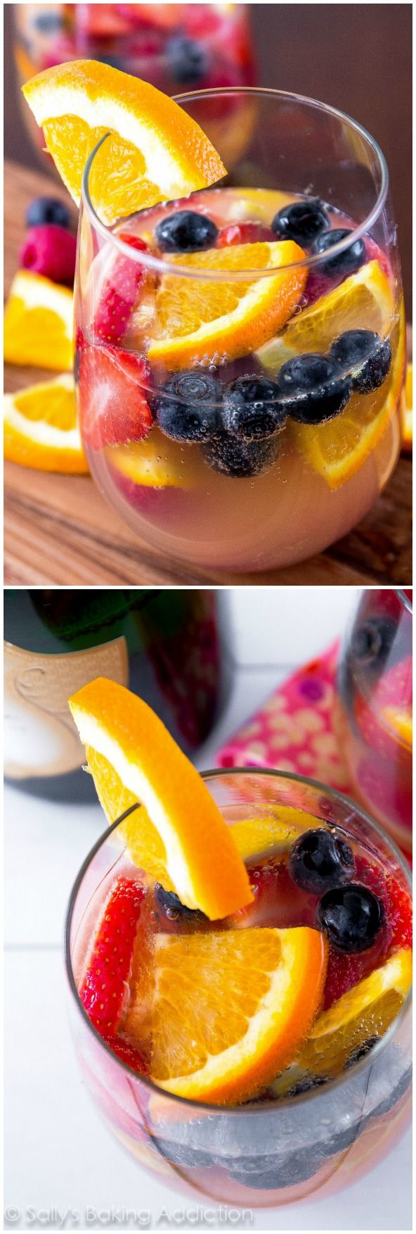 The BEST white sangria! Fruity, bubbly, and perfect for any occasion! The perfect fruity cocktail for any party or occasion. Everyone always loves it! I never have any leftover.